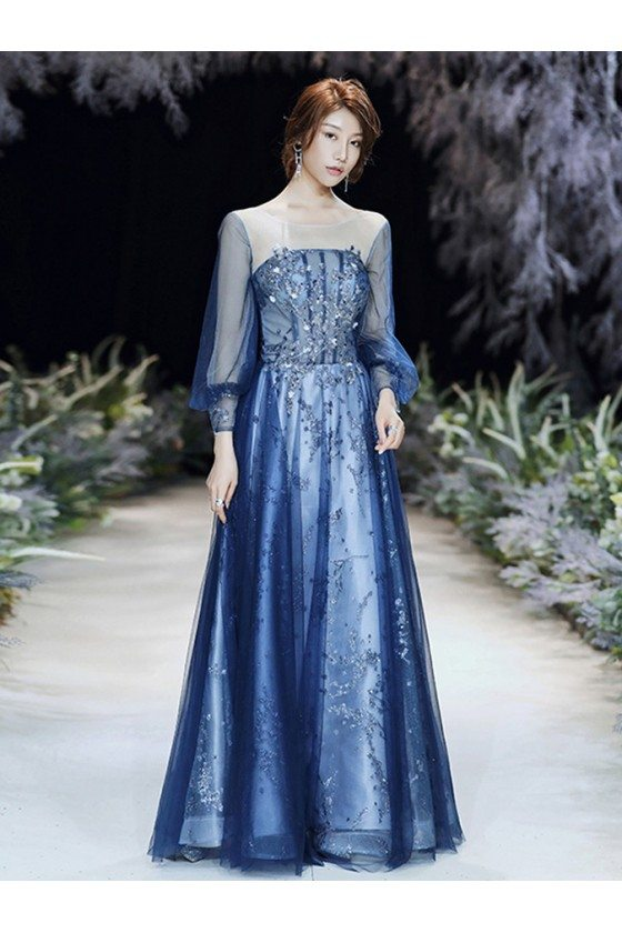 Blue Bling Sequins Aline Cheap Prom Dress With Illusion Long Sleeves - AM79033