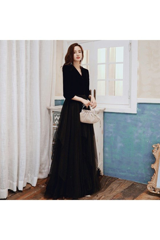 Formal Long Black With Tulle Party Dress Vneck With Sleeves - AM79018