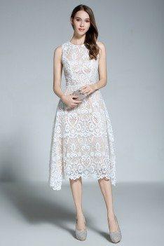 White Lace Sleeveless Short Dress