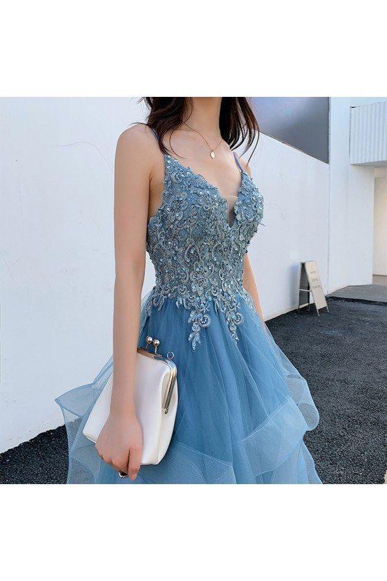 Blue Beaded Lace Beautiful Ruffled Prom Dress With Spaghetti Straps - AM79086