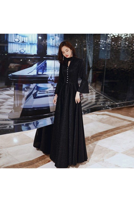 Classy Long Black Aline Evening Dress With Flare Long Sleeves - AM79020
