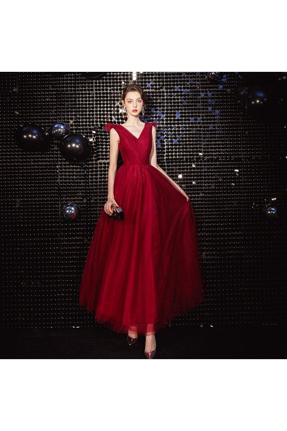 Pleated Vneck Long Tulle Party Dress In Burgundy Red - AM79079