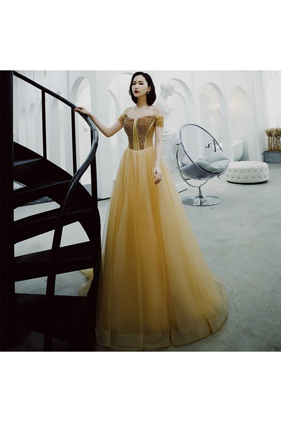 Champagne Gold Long Tulle Prom Dress With Sequins Top Off Shoulder