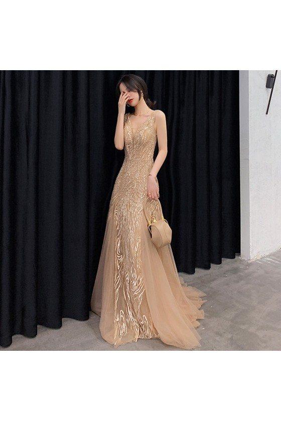 Champagne Beaded Vneck Tulle Long Prom Dress Sleeveless - AM79105