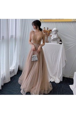 Brown Vneck Long Tulle Elegant Party Dress With Beaded Waist - AM79102