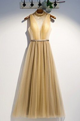 Long Gold Flowy Tulle Party...
