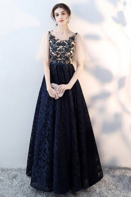 Navy Blue Lace Modest Prom...