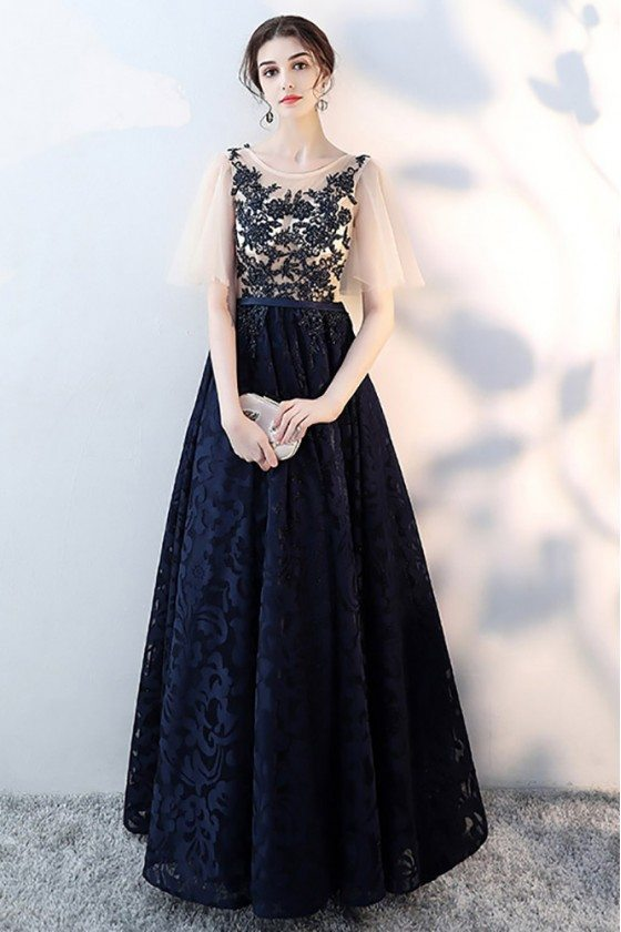 Navy Blue Lace Modest Prom Dress With Puffy Sleeves