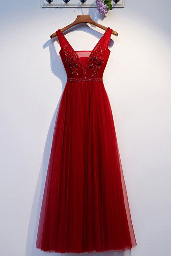 Pretty Long Tulle Burgundy Aline Prom Party Dress With Vneck - MYS69013