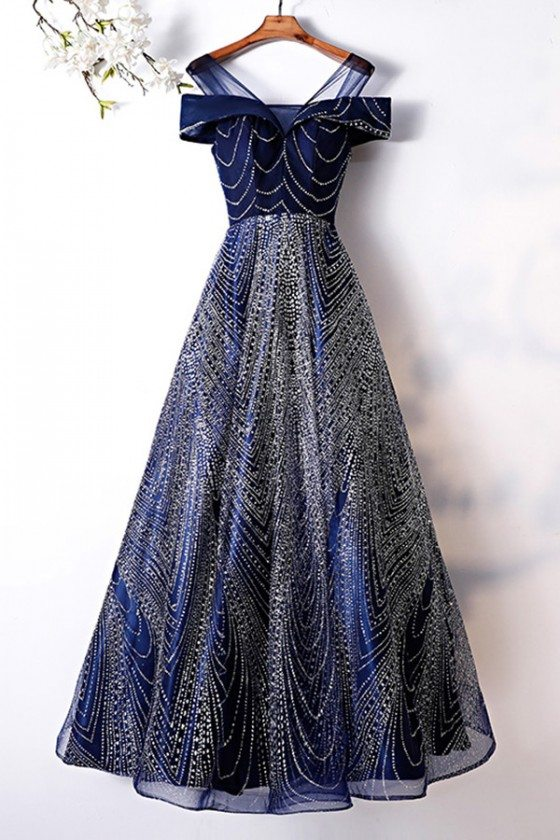 Trendy Aline Long Sparkly Prom Dress Navy Blue With Bling Sequins