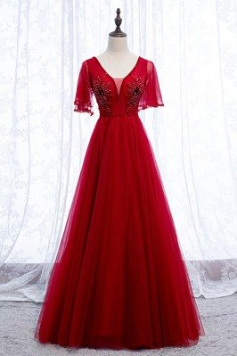 Burgundy Elegant Tulle Long Prom Dress With Vneck Sleeves - MYS69091