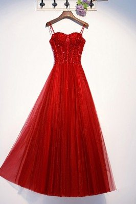 Aline Red Long Tulle Formal Dress With Bling Sequins - MYS69050