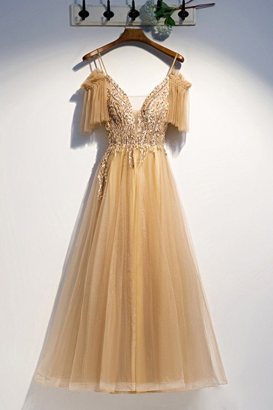 Flowy Long Tulle Gold Prom Dress With Straps Sleeves - MYS79094