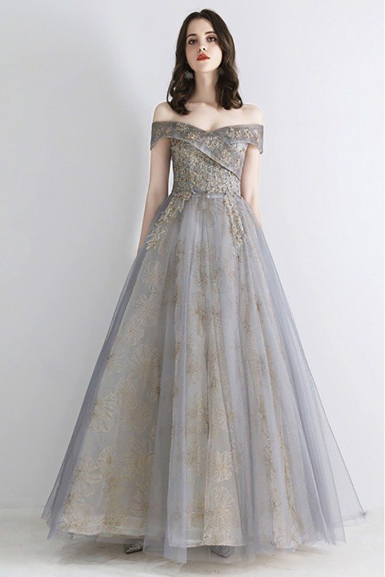 Dusty Grey Ballgown Off Shoulder Prom Dress With Sequins