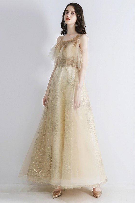 Beautiful Cold Shoulder Champagne Prom Dress With Sparkly Sequins