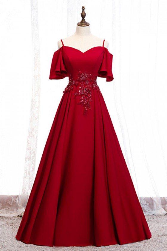 Burgundy Long Satin Elegant Prom Formal Dress With Straps Sleeves - MYS79017