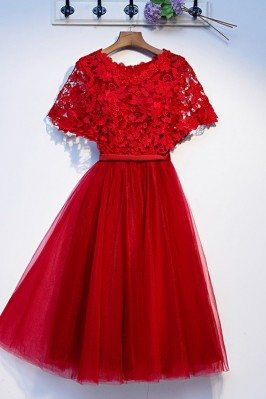 Pretty Red Lace Short Tulle...