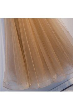 Luxe Champagne Gold Aline Tulle Prom Dress With Beaded Straps - MYS69062