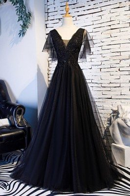 Beaded Lace Long Black Prom Dress With Puffy Sleeves - MYS68048