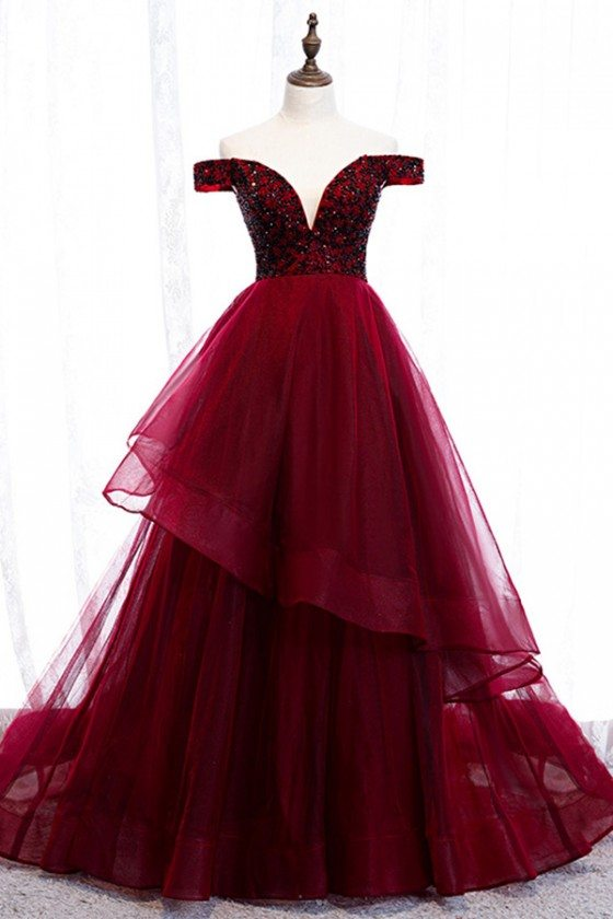 Burgundy Ruffles Long Prom Dress Off Shoulder With Train - MYS79021