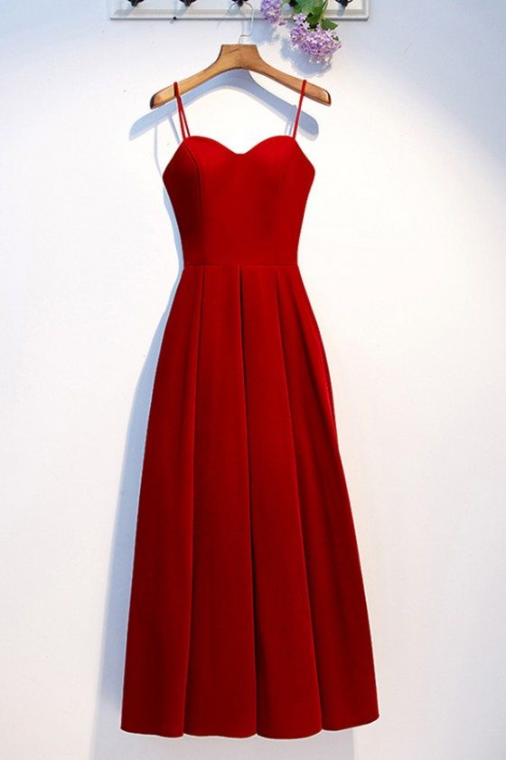 Sweetheart Burgundy Red Pleated Long Party Dress With Straps - MYS68078