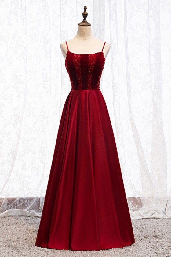 Beaded Top Simple Burgundy Long Prom Dress With Straps - MYS67022