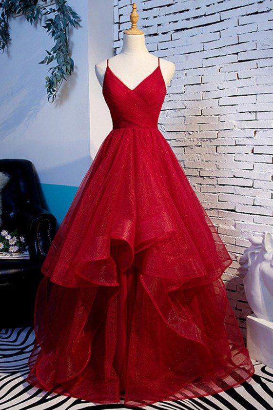 Vneck Burgundy Long Ruffles Prom Dress With Spaghetti Straps