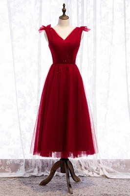 Tea Length Burgundy Tulle...
