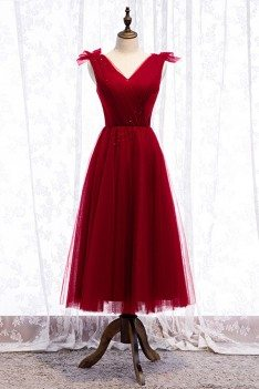 Tea Length Burgundy Tulle Party Dress Vneck With Laceup - MYS79029