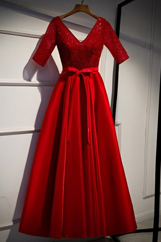 Special Occasion Red Aline Sequined Party Dress With Sleeves - MYS79044