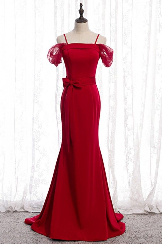 Formal Long Evening Mermaid Dress Burgundy Red Satin With Straps - MYS78072