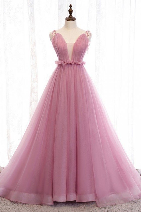 Rose Pink Long Tulle Ballgown Prom Dress With Illusion Vneck - MYS79025