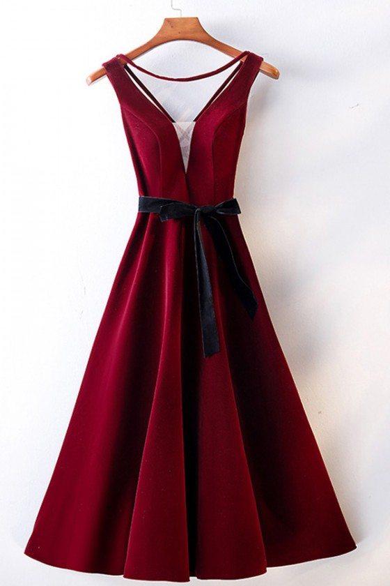 Burgundy Red Tea Length Party Dress Vneck With Sash - MYS68055