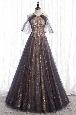 Sparkly Long Black Formal Prom Dress With Tulle Sleeves - MYS78076