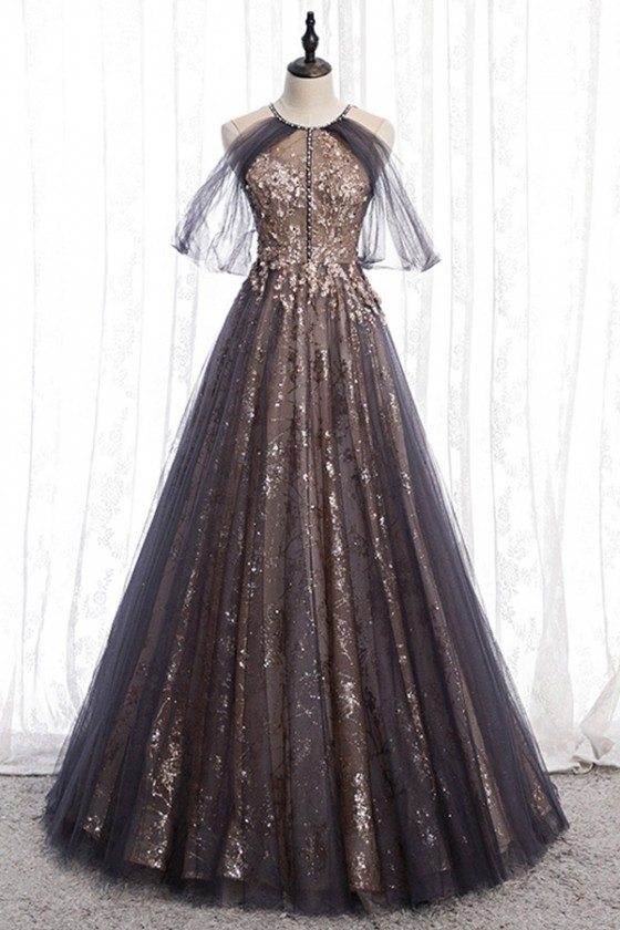 Sparkly Long Black Formal Prom Dress With Tulle Sleeves