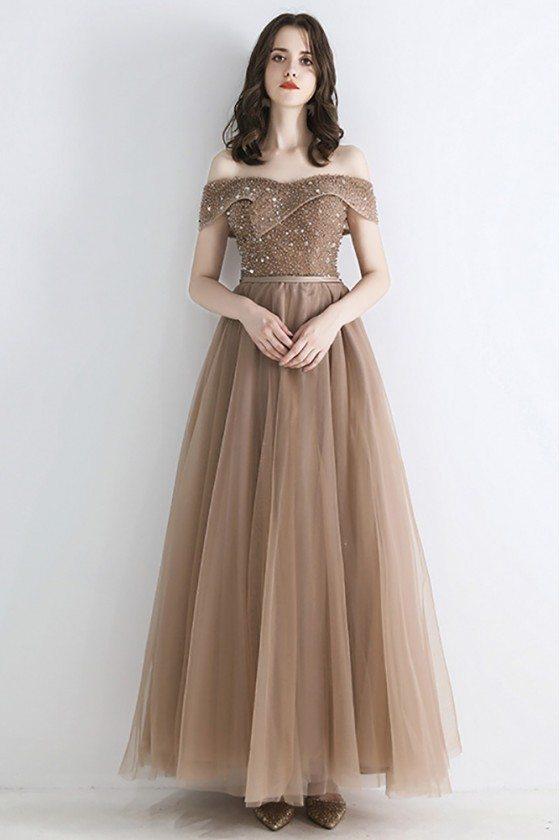 Champagne Beaded Top Long Tulle Prom Dress Off Shoulder