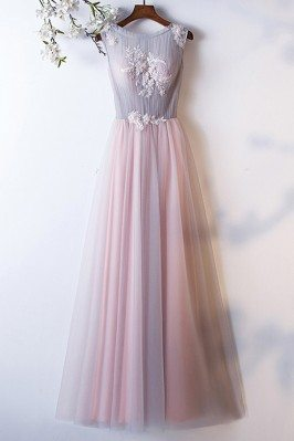 Grey Pink Tulle Aline Long Prom Dress Sleeveless With Flowers - MYS68027
