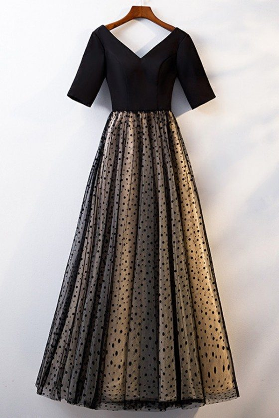 Vneck Long Tulle Modest Party Dress With Polka Dots