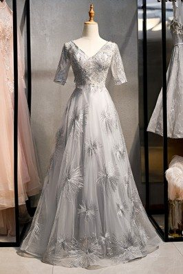 Elegant Long Grey Prom...