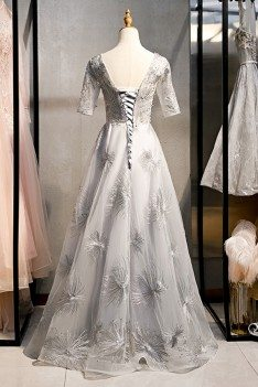 Elegant Long Grey Prom Dress Formal With Bling Sleeves - MYS79066