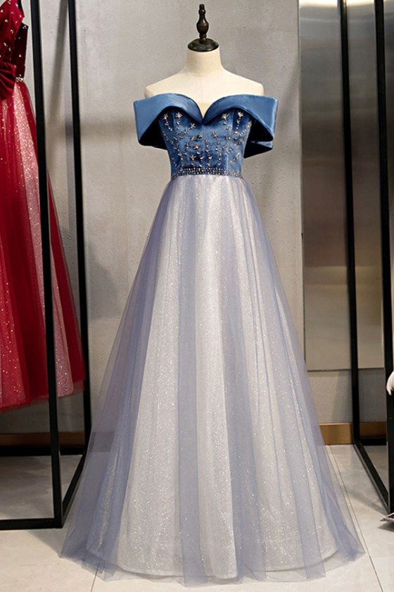 Blue With Tulle Long Prom Dress With Beading