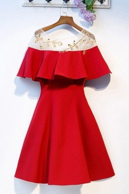 Short Red Party Dress Aline...