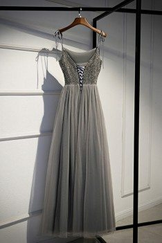 Grey Sequins Top Long Tulle Prom Dress Aline With Straps - MYS79045