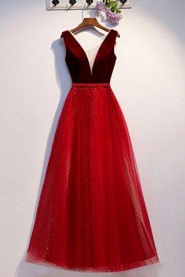 Aline Long Tulle Burgundy Formal Dress With Illusion Vneck - MYS68088