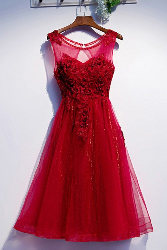 Tulle Tea Length Burgundy Formal Party Dress With Appliques - MYS79009