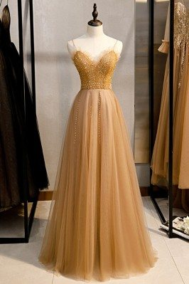 Champagne Long Tulle Prom...