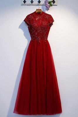 Modest Cap Sleeve Lace Long Burgundy Formal Dress With Beading - MYS69010