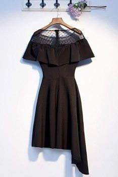 Casual Black Asymmetrical Little Black Party Dress With Sleeves - MYS69028