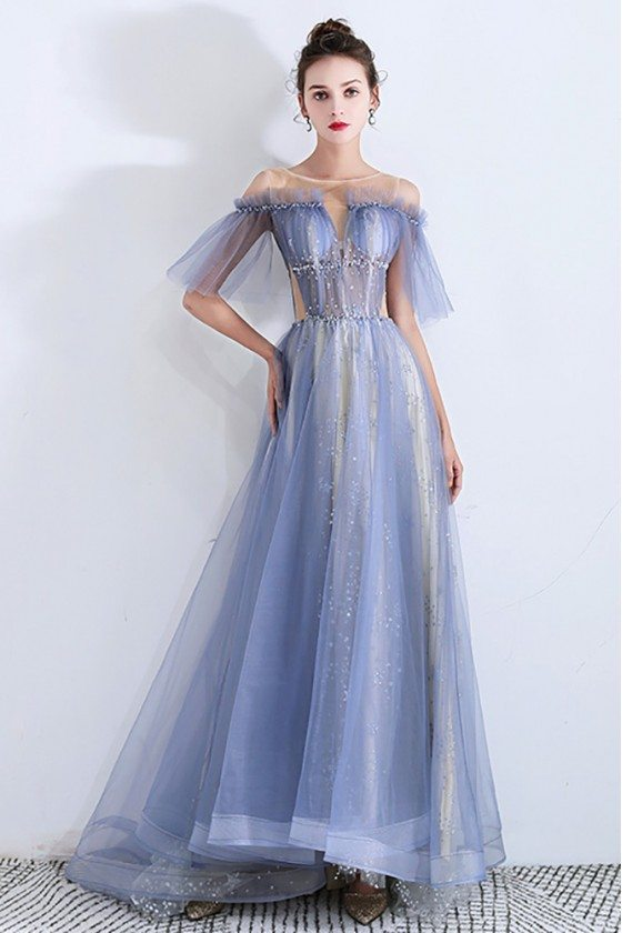 Sheer Top Blue Tulle Long Prom Dress With Sequins