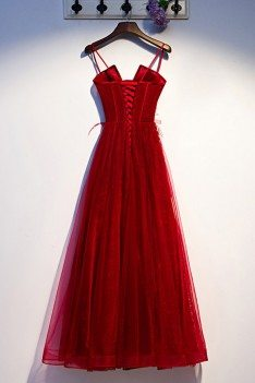 Burgundy Long Tulle Lace Prom Dress Aline With Straps - MYS67030